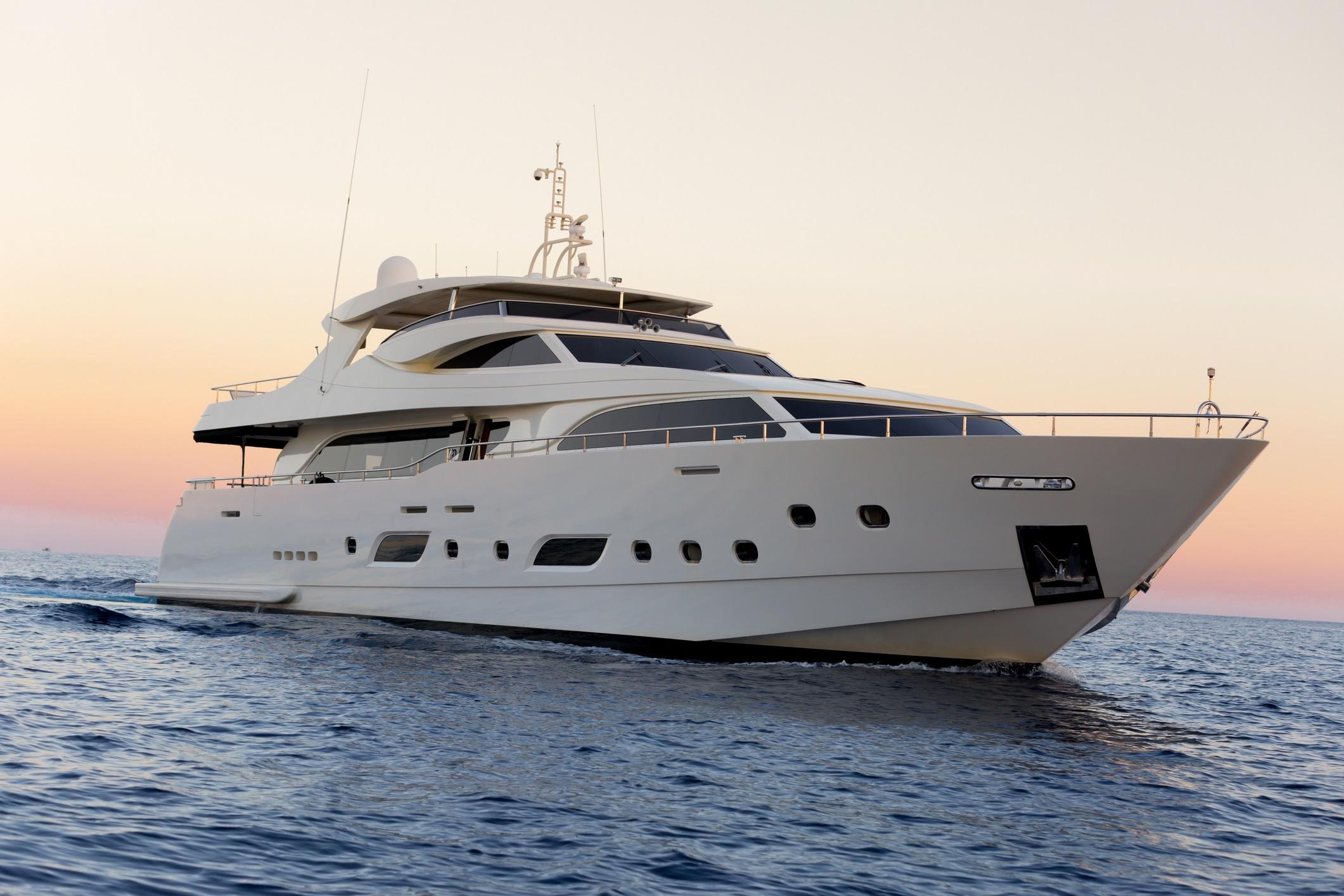 Luxury yacht sailing on the sea sunset