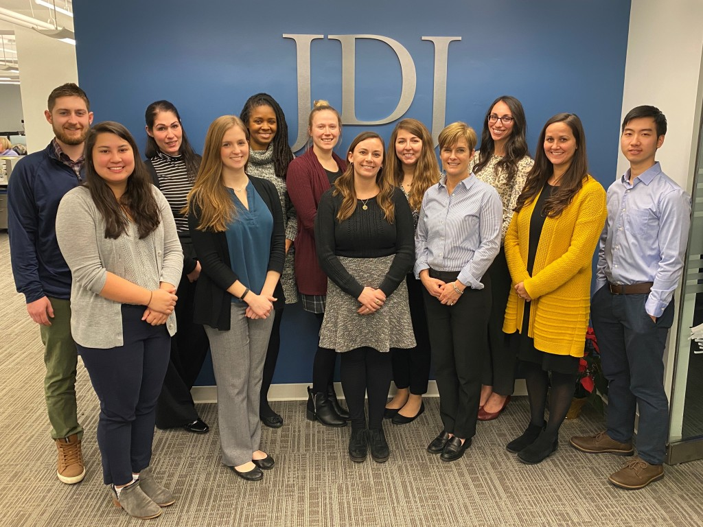Congratulations to these JDJ team members on their promotions.  back row: Sean Corliss, Rachel DeIeso, Nikkisha Spencer, Jessica Lee, Gina Rego, Talia Bartash front row: Abi Smith, Elizabeth Fogarty, Brittany Quarantello, Joanne Flanagan, Mallory Garneau, Stephen Lau