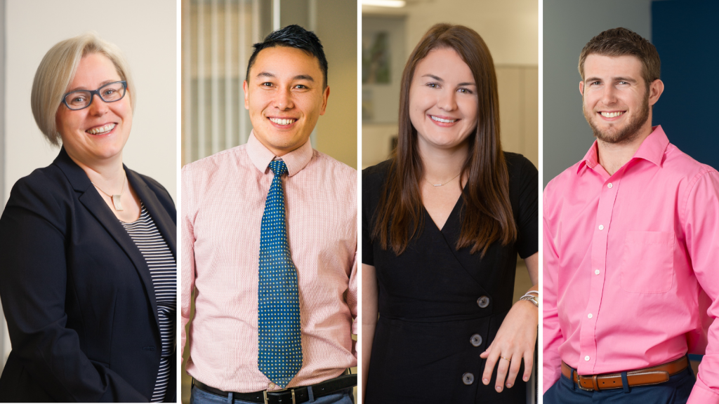 We congratulate these JDJ team members on their promotions (left to right): Lise Przybylski, Sumit Bhattachan, Stephanie Gaudian, and Logan Cerruti.